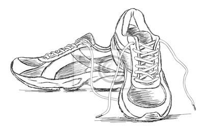4cbf522092428 Naklejka Ręcznie robione buty sportowe trampki Szkic ilustracji wektorowych
