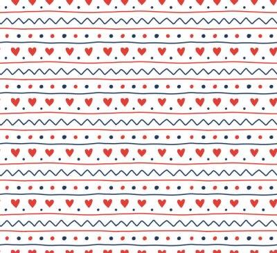 Naklejka Ręcznie rysowane bezszwowe wektor wzór prosty skandynawski ornament, na białym tle. Koncepcja projektu na Boże Narodzenie, tekstylia dziecięce, tapety, papier pakowy.