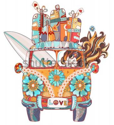 Naklejka Ręcznie rysowane doodle zarys retro autobus podróży ozdobione ornamentem widok z przodu. Wektor zen sztuki ilustracji. Kwiatowy ornament. Szkic do tatuażu lub stylu printBoho.