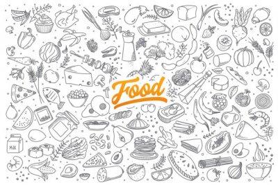 Naklejka Ręcznie rysowane Doodles zestaw zdrowych składników żywności z napisami w wektorze