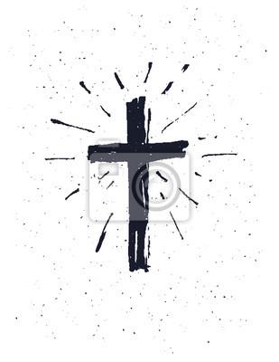 Naklejka Ręcznie rysowane grunge czarny krzyż.
