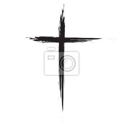 Naklejka Ręcznie rysowane grunge czarny krzyż ikona, proste Krzyż znak, ręcznie malowany krzyż, krzyż malowane szczotek. Wielkanoc tła.