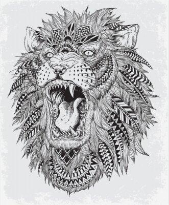 Naklejka Ręcznie rysowane ilustracji Abstrakcyjne Lion vector