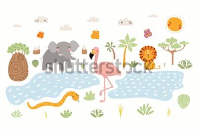 Naklejka Ręcznie rysowane ilustracji wektorowych słodkie zwierzęta lew, Czerwonak, słoń, wąż, afrykański krajobraz. Pojedyncze obiekty na białym tle. Płaska konstrukcja w stylu skandynawskim. Koncepcja druku d