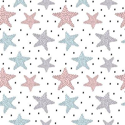 Naklejka ręcznie rysowane kropkowane gwiazd bez szwu wektor wzór tła ilustracji