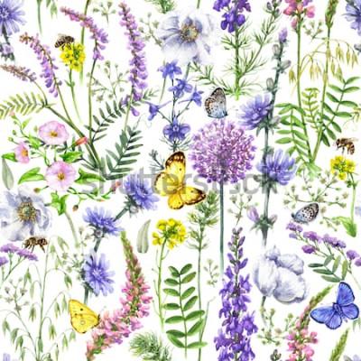 Naklejka Ręcznie rysowane kwiatowy wzór wykonany z akwarela różowe, fioletowe i liliowe kwiaty, pszczoły i motyle. Kwiaty letnie, latające i siedzące owady na białym tle.