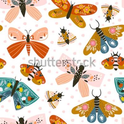 Naklejka Ręcznie rysowane motyle. Kolorowy wektor wzór