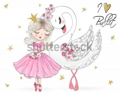 Naklejka Ręcznie rysowane piękna, urocza, mała baletnica z łabędziem. Ilustracji wektorowych.