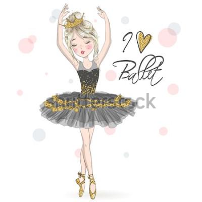 Naklejka Ręcznie rysowane piękna, urocza, mała baletnica z piegami i koroną na głowie. Ilustracji wektorowych.