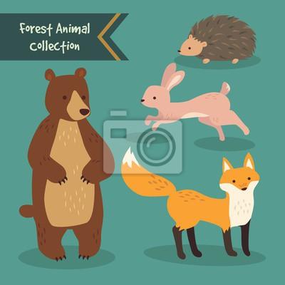 Naklejka Ręcznie rysowane słodkie zwierzę kolekcji las