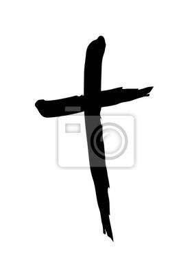 Naklejka Ręcznie rysowane symbol krzyż chrześcijański