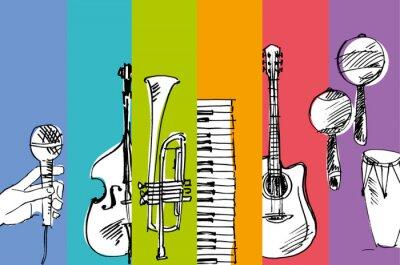 Naklejka ręcznie rysowane wektor prosty szkic ilustracji muzycznej