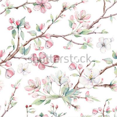 Naklejka ręcznie utworzone gałęzie jabłoni i kwiatów wzór. Jest idealny do tapet, tkanin, tkanin, okładek, papieru do pakowania, tekstur powierzchni, papieru cyfrowego.