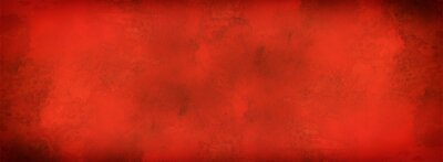 Naklejka red background with grunge texture, watercolor painted Christmas red background with vintage marbled textured design on grungy red banner, distressed old antique parchment paper