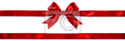 Naklejka Red Bow And Ribbon Isolated On White