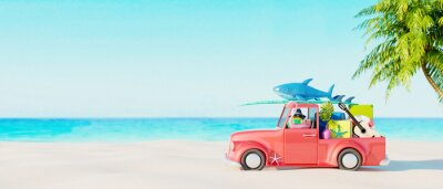 Naklejka Red car with luggage and beach accessories ready for summer vacation. Creative summer concept idea with copy space 3D Render 3D illustration