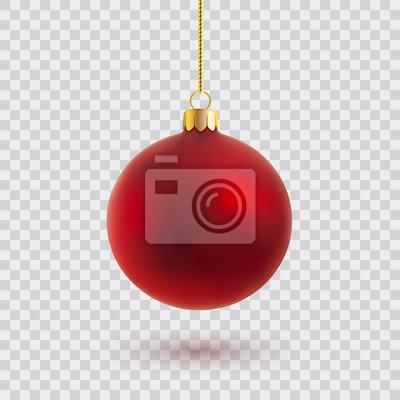 Naklejka red christmas ball ilustracji wektorowych