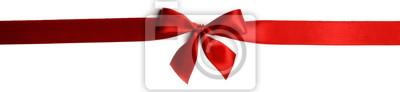 Naklejka Red gift bow on white