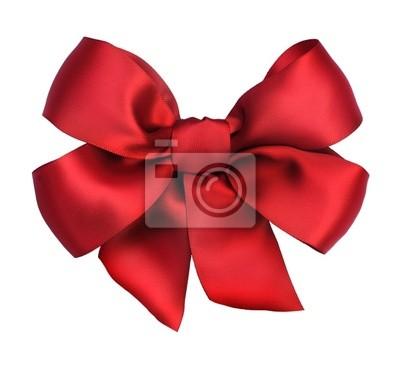 Naklejka Red łuk prezent satyna. Ribbon. Samodzielnie na białym tle