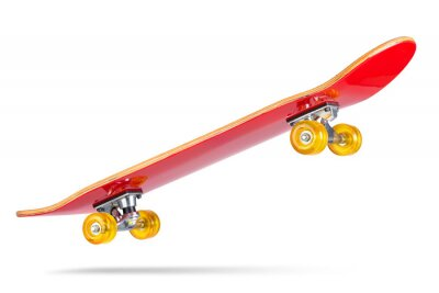 Naklejka Red skateboard deck, isolated on white background. File contains a path to isolation