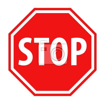 Naklejka Red stop sign icon vector illustration