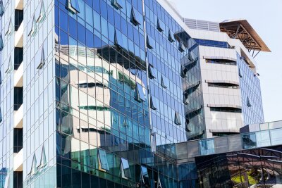 Reflections on glass facade