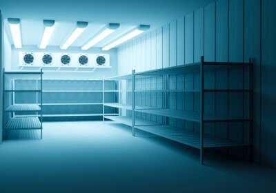 Naklejka Refrigerators compartment. Warehouse with shelves for food storage. Grocery warehouse with air conditioning. Freezing of products. Stelms with shelves. Refrigeration equipment. I