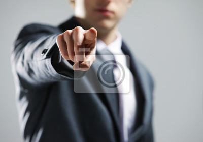 Naklejka Ręka biznesmen wskazując na ciebie