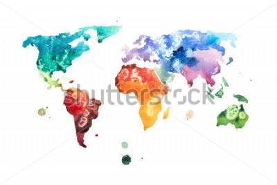 Naklejka Ręka rysująca akwareli głównych map aquarelle ilustracja