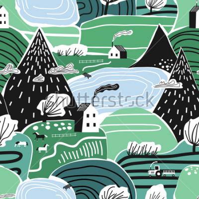 Naklejka Ręka rysujący wektorowy abstrakcjonistyczny scandinavian graficzny ilustracyjny bezszwowy wzór z domem, drzewami i górami ,. Koncepcja krajobrazu nordyckiej przyrody. Idealny dla dzieci tkanina, tekst