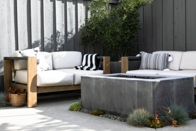 Naklejka Relaxing outdoor space with couch