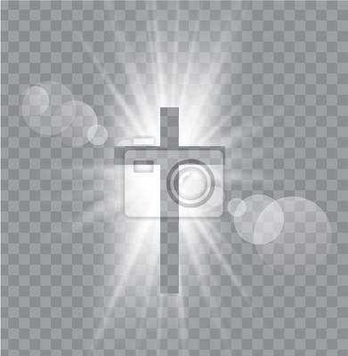 Naklejka Religioush trzy krzyże z Sun promienie przezroczyste tło