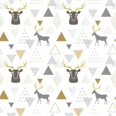 Naklejka Reniferowy geometryczny modny bezszwowy wzór z zwierzęcą sylwetką, zima wakacji scandinavian minimalny wzór, zaproszenie wektoru tło