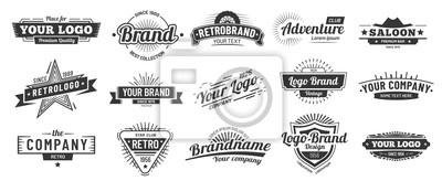 Naklejka Retro badge. Old emblem, logo frame and vintage silhouette badges hipster design vector set