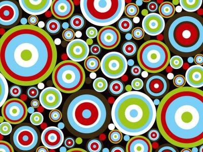 Naklejka Retro, czerwony, niebieski, zielony, moc koła na brązowym