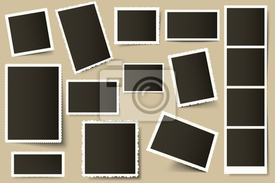 Retro photo frames. Vintage border template, old photos and paper photo frames with realistic shadows vector set. 3d decorative photograph snap and square snapshot. Old borders pack