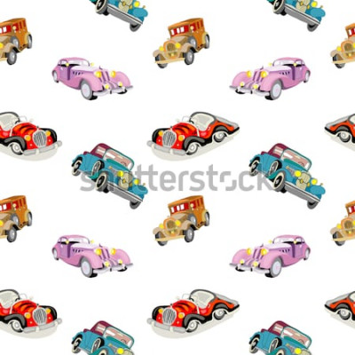 Naklejka Retro samochody bez szwu wzór