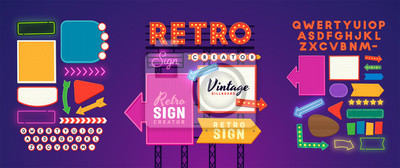 Naklejka Retro signboard creator. Set elements for street sign. Scene creator, neon sign. Retro font. Advertising space.
