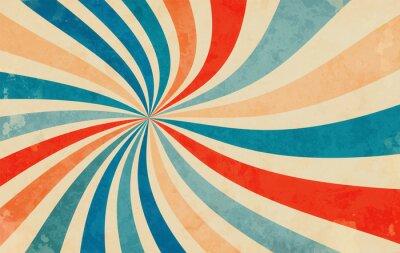 Naklejka retro starburst sunburst background pattern and grunge textured vintage color palette of orange red beige peach and blue in spiral or swirled radial striped vector design