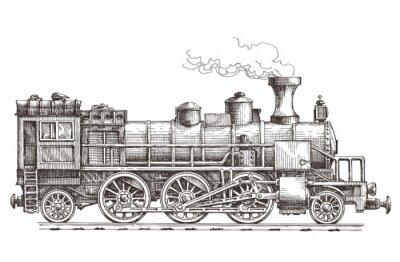 Naklejka retro steam locomotive vector logo design template. train or