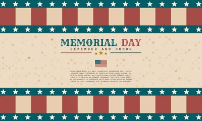 Naklejka Retro style Memorial Day background template design. It is suitable for banner, poster, advertising, cover, etc. Vector illustration