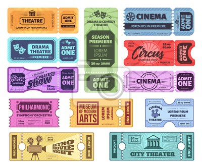 Retro tickets. Circus, cinema and theatre admit one ticket. Vintage admission coupon, concert and movie night tickets vector set. Amusement pass. Colorful entertainment vouchers, control coupon
