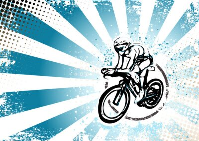 Naklejka retro tle plakatu na rowerze
