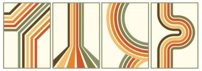 Naklejka retro vintage 70s style stripes background poster lines. shapes vector design graphic 1970s retro background. abstract stylish 70s era line frame illustration
