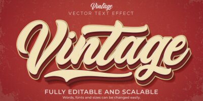 Naklejka Retro, vintage text effect, editable 70s and 80s text style