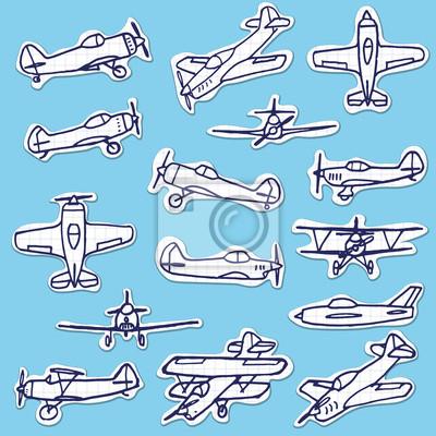 Retro Wyciągnąć rękę Vector Set Samoloty