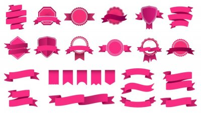 Ribbon banner badges. Frame with tape, abstract decorative shape badge and curved ribbons flat vector set. Collection of pink labels and stamps. Bright ceremonial objects with streamers and bend tapes