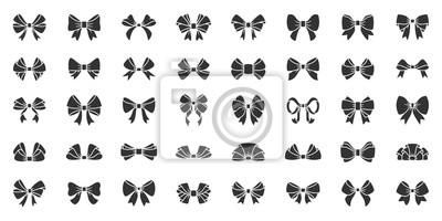 Naklejka Ribbon bow gift black silhouette icon vector set