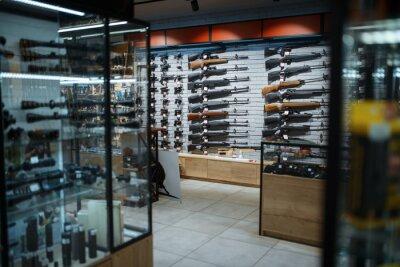 Naklejka Rifle choice, showcase in gun shop, nobody