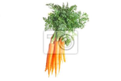 Naklejka Ripe fresh carrots isolated on white background